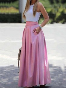 Pink Pleated Pockets Prom Evening Party Maxi Dress
