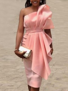 Pink Ruffle Pleated Off Shoulder Bodycon Elegant Prom Evening Party Maxi Dress