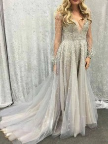 Grey Patchwork Grenadine Bronzing Pleated Sparkly Prom Evening Party Maxi Dress