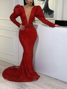 Red Patchwork Sequin Deep V-neck Sparkly Glitter Birthday Bodycon Mermaid Prom Evening Party Maxi Dress