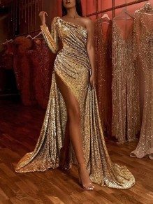Golden Bright Wire Asymmetric Shoulder Pleated Bodycon Side Slits Sparkly Prom Party Maxi Dress
