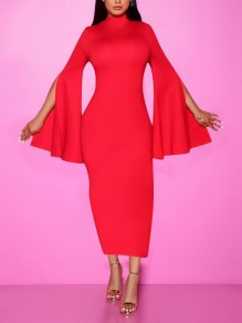Red Bell Sleeve Bodycon Prom Evening Party Maxi Dress