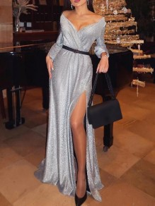 White Bright Wire Off Shoulder Side Slits Bodycon Mermaid Sparkly Glitter Birthday Party Maxi Dress