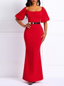 Red Bodycon Mermaid Prom Abend Party Maxi-Kleid