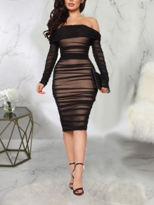 Black Patchwork Grenadine Pleated Ruched Off Shoulder Long Sleeve Bodycon Party Prom Midi Dress