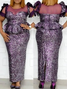 Purple Patchwork Sequin Ruffle Bodycon Mermaid Sparkly Glitter Birthday Party Maxi Dress