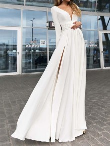 White Draped Side Slit Big Swing V-neck Long Sleeve Elegant Wedding Prom Maxi Dress