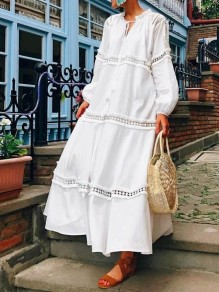 White Patchwork Lace Drawstring Band Collar Long Sleeve Bohemian Beach Casual Maxi Dress