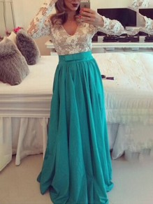 Green Patchwork Lace Bow Draped Backless V-neck Long Sleeve Elegant Maxi Dresses