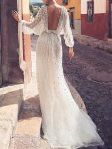 White Patchwork Sequin Deep V-neck Lantern Sleeve Backless Elegant Maxi Dress