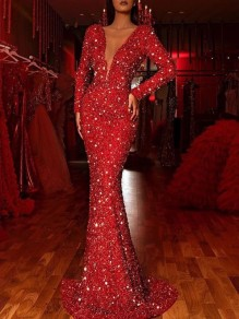 Red Patchwork Sequin Deep V-neck Long Sleeve Mermaid Elegant Maxi Dress
