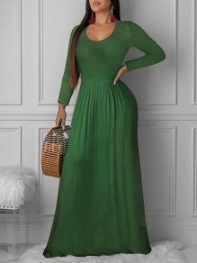 Green Pleated Round Neck Long Sleeve Big Swing Casual Church Maxi Dress