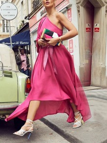 Rose Carmine Bow Asymmetric Shoulder Irregular Elegant Maxi Dress