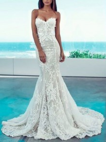 White Patchwork Lace Bandeau Sleeveless Elegant Mermaid Banquet Maxi Dress