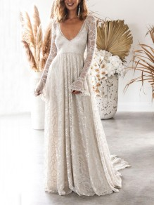 Silver Patchwork Lace Backless V-neck Long Sleeve Elegant Banquet Maxi Dress