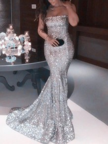 Silver Patchwork Sequin Bandeau Sleeveless Elegant Mermaid Maxi Dress