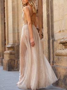 Apricot Patchwork Sequin Pleated Deep V-neck Backless Fashion Maxi Dress