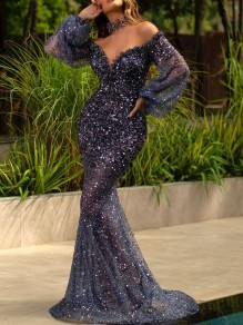 Blue Patchwork Sequin Off Shoulder Puff Sleeve Elegant Mermaid Maxi Dress