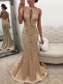 Golden Patchwork Sequin Cut Out Backless Round Neck Mermaid Maxi Dress