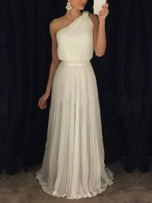 White Pleated One Shoulder Sleeveless Elegant Homecoming Party Maxi Dress