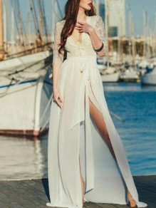 White Patchwork Chiffon Lace Cut Out Belt Lace-up Deep V-neck Elbow Sleeve Beach Wedding Flowy Maxi Dress