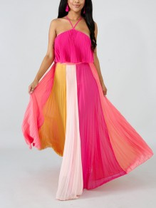 Pink Hit Color Bandeau Ruffle Adjustable-straps Zipper Pleated Flowy Beach Maxi Dress
