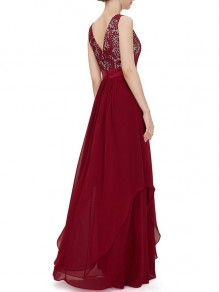 Red Patchwork Lace Back V-neck Sleeveless Elegant Prom Party Chiffon Maxi Dress