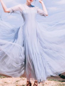 Dusty Blue Patchwork Draped Layers Of Grenadine Sheer Fluffy Puffy Tulle Flowy Elegant Maxi Dress