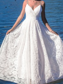 White Wrap V-neck Spaghetti Strap Lace Embroidery Flowy Wedding Maxi Dress