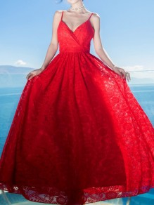 Red Wrap V-neck Spaghetti Strap Lace Embroidery Flowy Wedding Maxi Dress