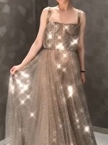 Champagne Patchwork Sequin Off Shoulder Draped Diamond Glitter Sparkly Prom Maxi Dress