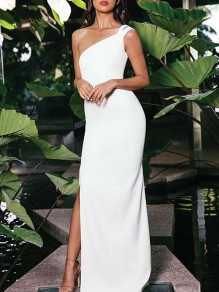 Maxi dress asimmetrico spallaccio laterale bodycon party bianco bianco