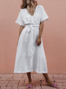 White Single Breasted Sashes Bow V-neck Short Sleeve Maxi Dress