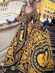 Yellow Africa Tribal Print Belt Lace-up V-neck Long Puff Sleeve Falbala Flowy Maxi Dress