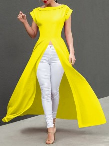 Yellow Patchwork Irregular Slit Short Sleeve Fashion Maxi Dress