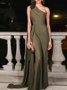 Army Green Asymmetric Shoulder Thigh High Side Slits Prom Evening Party Elegant Maxi Dress