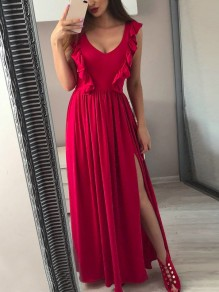 Wine Red Patchwork Ruffle Slit V-neck Party Maxi Dress