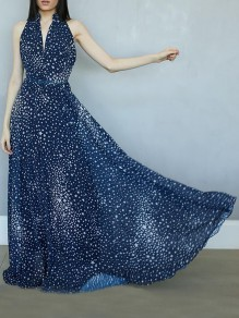Navy Blue Glitter Starry Print V-neck Sleeveless Beach Flowy Maxi Dress