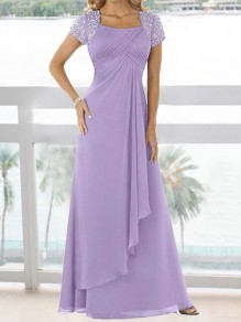 65bbe34a8c9e Pastel Light Purple Sequin Pleated Irregular Chiffon Prom Evening Party  Bridemaid Maxi Dress