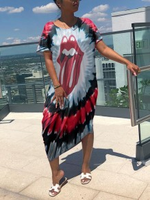 Red Tie Dye Rolling Stone Lips Print Round Neck Short Sleeve Casual Maxi Dress
