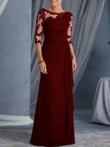 Maxi dress bordeaux in pizzo drappeggiato girocollo manica 3/4 elegante