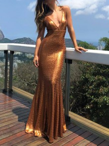 Golden Sequin Backless Glitter Sparkly Prom Evening Party Bridesmaid Maxi Dress