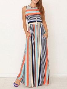 Light Blue Striped Print Pockets Round Neck Sleeveless Bohemian Maxi Dress