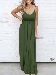 Army Green Draped Spaghetti Strap V-neck Sleeveless Elastic Waist Fashion Casual Maxi Dress
