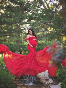 Red Patchwork Flowy Chiffon Draped Off-shoulder For Babyshower Elegant Pregnant Maternity Maxi Dress