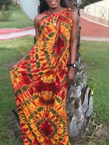 Yellow-Red Tie Dye Africa Tribal Print Round Neck Sleeveless Big Swing Maxi Dress