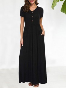 Black Buttons Pockets Pleated V-neck Short Sleeve Fashion Maxi Dress
