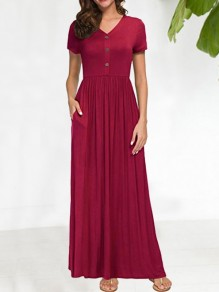 Wine Red Buttons Pockets Pleated V-neck Short Sleeve Fashion Maxi Dress