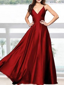 Wine Red Draped Spaghetti Strap V-neck Sleeveless Elegant Prom Evening Party Maxi Dress