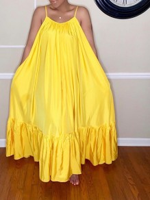 Yellow Shoulder-Strap Ruffle Pleated Big Swing Flowy Casual Maxi Dress